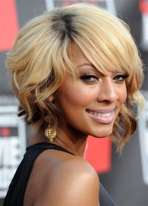 african american short blonde wavy bob hairstyle