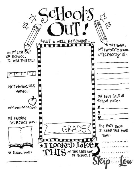 End Of School Memory Printable  Skip To My Lou