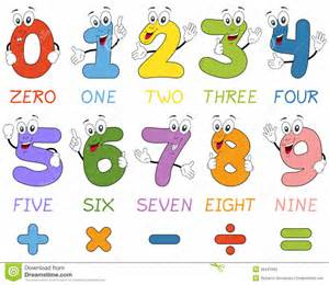 Numbers Funny Cartoon Characters