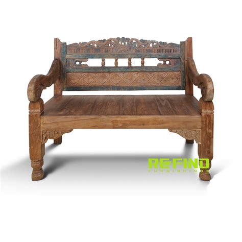 Antique Teak Bench - recycled teak wood bali antique 2 seaters bench