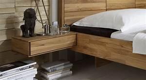 Bett Mit Nachttisch : massivholzbett schwebend aus kernbuche rosso ~ Frokenaadalensverden.com Haus und Dekorationen