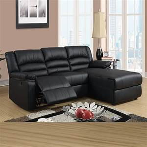 Black leather reclining sectional products homesfeed for Loukas leather reclining sectional sofa with reclining chaise