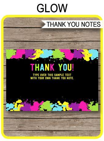 printable neon glow party   cards glow birthday
