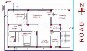 2 Bedroom Floorplan 800 Sq Ft North Facing House Plan East