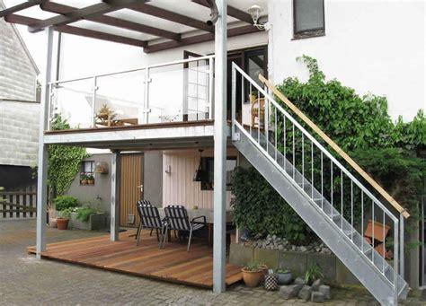 anbaubalkon mit treppe terrassenanbau mit gerader treppe sowie gel 228 nder mit glasf 252 llung verzinkt stahlbau