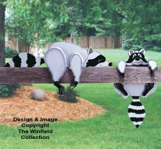 yard garden art patterns raccoon rail pets woodcraft