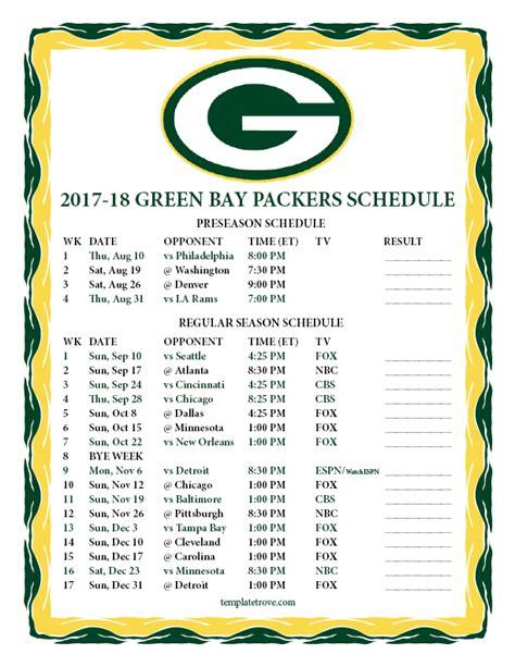 printable   green bay packers schedule
