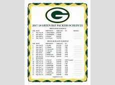Printable 20172018 Green Bay Packers Schedule