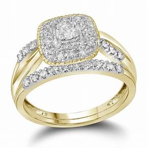 10kt yellow gold womens round diamond square halo bridal With womens wedding ring no diamond