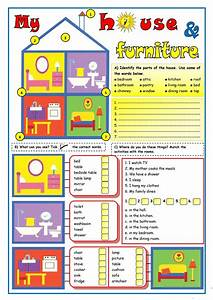 My house furniture worksheet free esl printable for Furniture found in the home