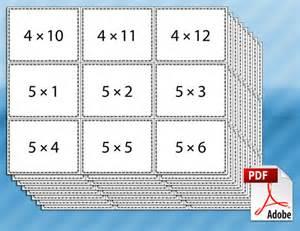 Math Multiplication Flash Cards Printable