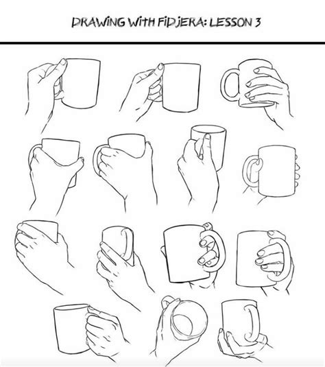 If you leave the mug standing, you will notice that the. Pin by Rebecca G. on poses | How to draw hands, Drawings, Drawing techniques