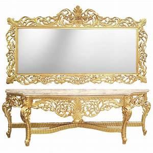 Miroir Baroque Argenté : enorme console avec miroir de style baroque en bois dor marbre beige ~ Teatrodelosmanantiales.com Idées de Décoration