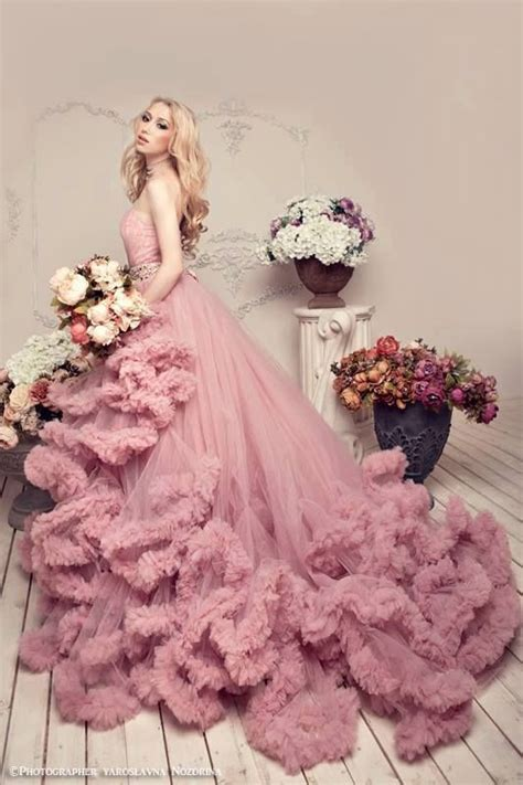 gorgeous pink ruffled gown pictures   images