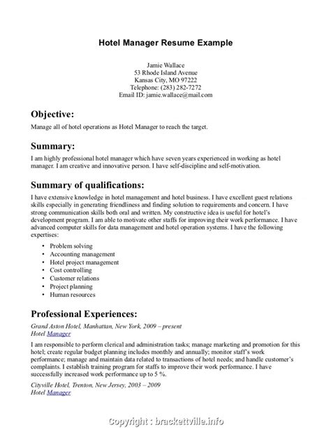 Simple Resume For Hotel Management Internship Restaurant Manager Resume Format Hotel Management