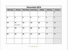 Kalender November 2014 met weeknummers en feestdagen in