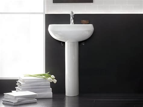 how to attach a pedestal sink to the wall wellworth pedestal sink with single faucet hole k 2293 1
