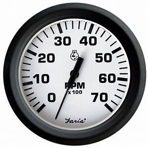 Faria Euro White 4 U0026quot  Tachometer - 7 000 Rpm  Gas