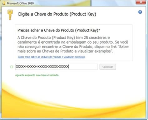 chave para pacote office 2010