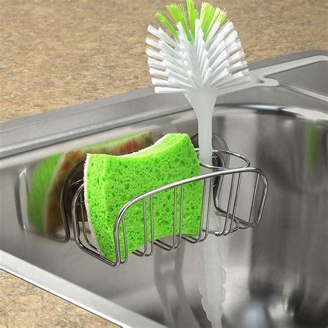 kitchen sink scrubber holder dish brush holder chrome in sink organizers 5931