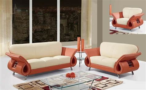 Orange Leather Loveseat by Syri Modern Leather Sofa Set Orange Beige Sofa