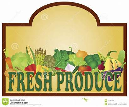 Produce Fresh Signage Illustration Vegetables Grocery Royalty