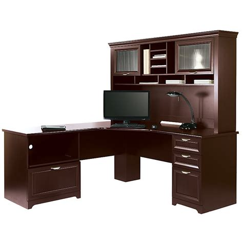 realspace magellan performance collection l desk w hutch cherry 956697 956679 desks tables