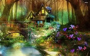Enchanted forest hut wallpaper - 976564