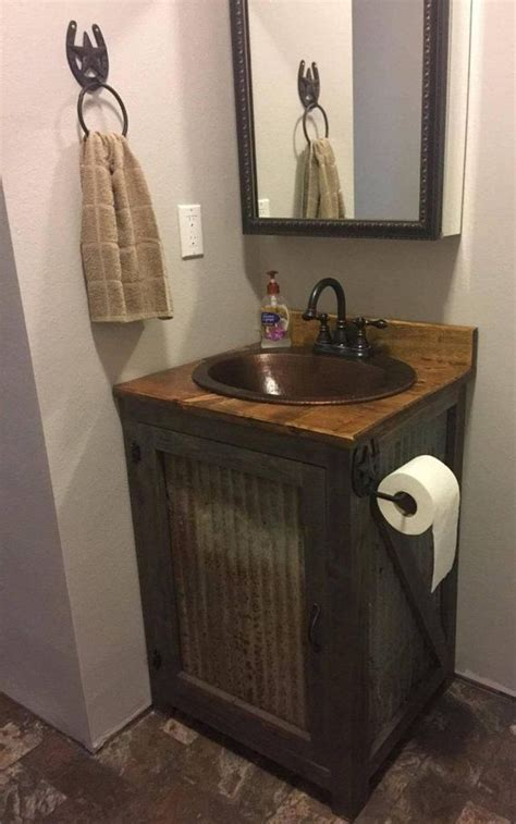 rustic barn tin bathroom vanity  bathroom vanity