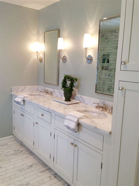 shaker inset white painted cabinets bath remodel