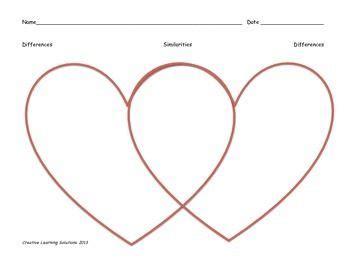 valentine heart shaped venn diagram  color full page