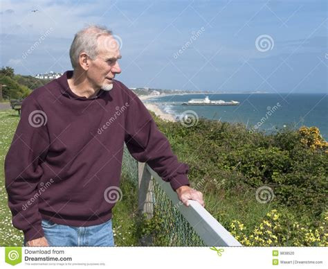 Old Man Gazing Out At The Ocean Stock Photo  Image 9838520
