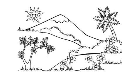 pemandangan alam sketsa contoh gambar pemandangan alam