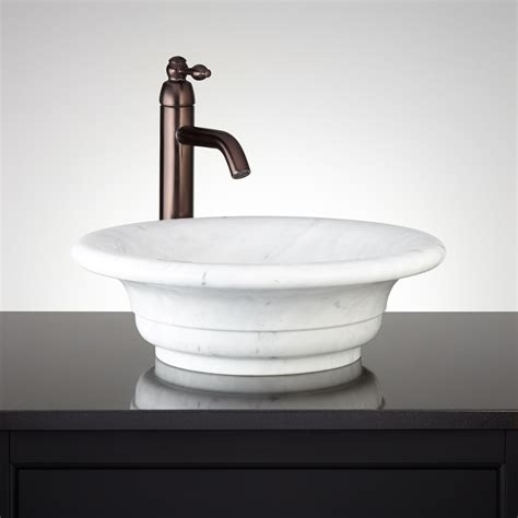 curved rim carrara marble vessel sink bathroom