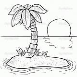 Coloring Tropical Island Popular sketch template