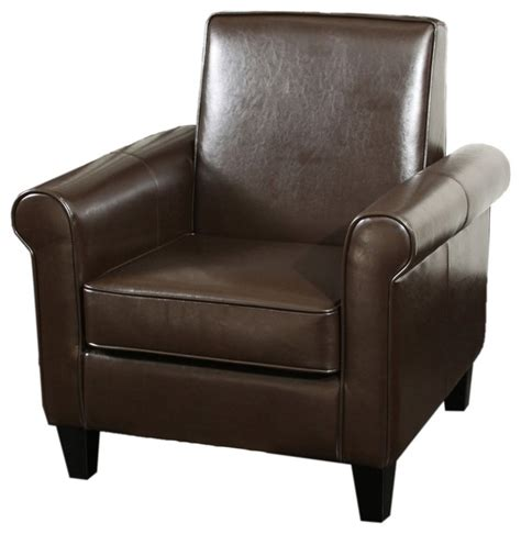 larkspur modern design brown leather club chair