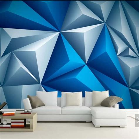 Custom 3d Wall Murals Wallpaper Modern Stereoscopic Blue