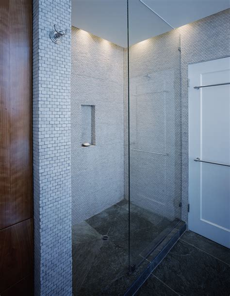 tile for shower floor Bathroom Traditional with black