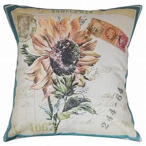 Throw Pillow Cover - Vintage French Summer Sunflower ...