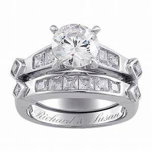 sterling silver 2 piece cz engraved wedding ring set With two piece wedding ring set