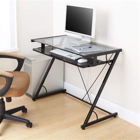 glass top desk walmart mainstays solar glass top desk black walmart com
