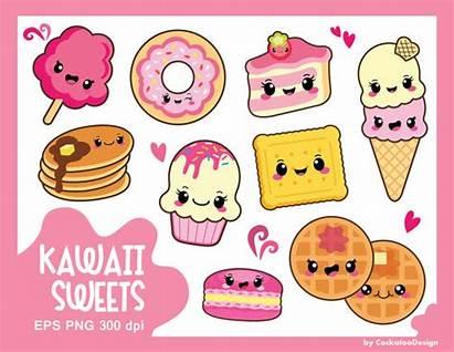 Kawaii Clipart Sweets Cake Macaron Donut Cookie