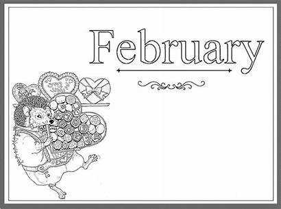 Coloring February Pages Printable Month Calendar Greepx