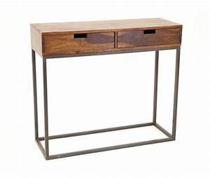 Console Bois Metal Industriel : console bois et fer style industriel 2 tiroirs crispy 5199 ~ Teatrodelosmanantiales.com Idées de Décoration