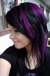 Black Hair, Purple Peekaboo - Hair Colors Ideas