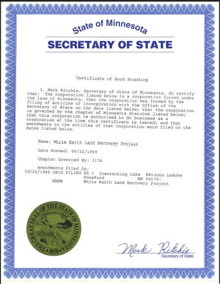 Certificate Of Good Standing by Welrp Receives Mn Certificate Of Good Standing Welrp