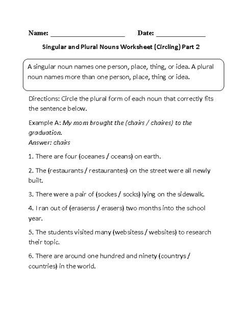 nouns worksheets singular  plural nouns worksheets