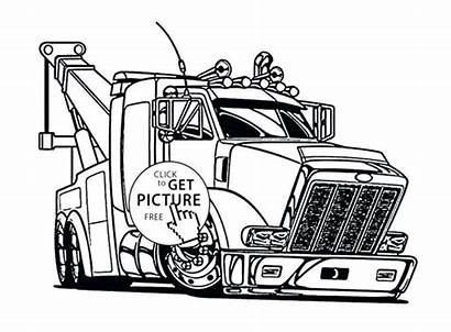 Truck Coloring Semi Pages Tow Trucks Drawing