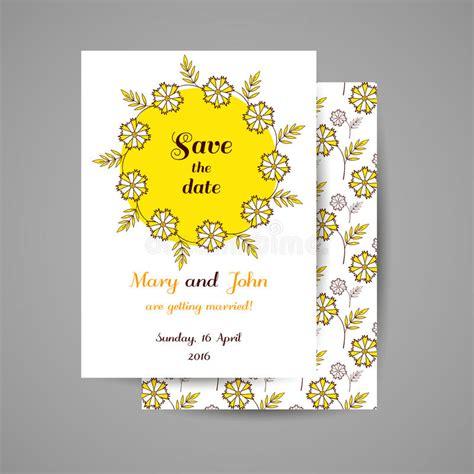 Wedding Invitation With Yellow Flowers Stock Vector
