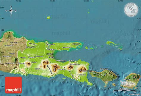 physical map  east java satellite